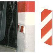 Protector parking autoadhesivo frontal blanco/rojo de 40x8x1,5 cm