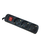 Base múltiple Orework con interruptor cable de 3x1,5 largo 1,5 m 6 tomas negra