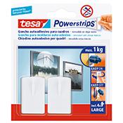 Gancho autoadhesivo Tesa Powerstrips cuadros 1 kg blanco